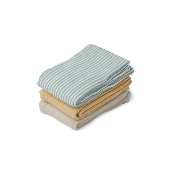 Liewood - Musselintücher 3er Set sea blue stripe mix