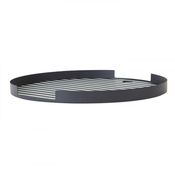 OYOY - Metalltablett anthrazit/weiß