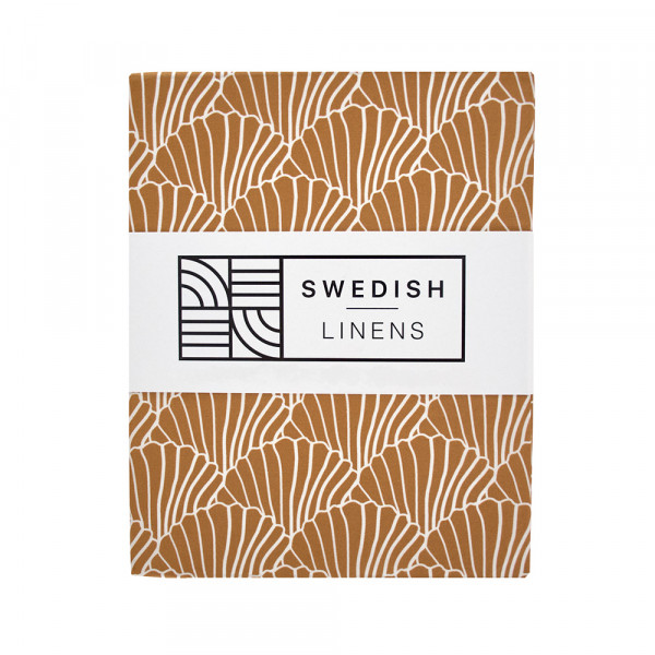Swedish Linens - Spannbettlaken SEASHELLS Cinnamon brown
