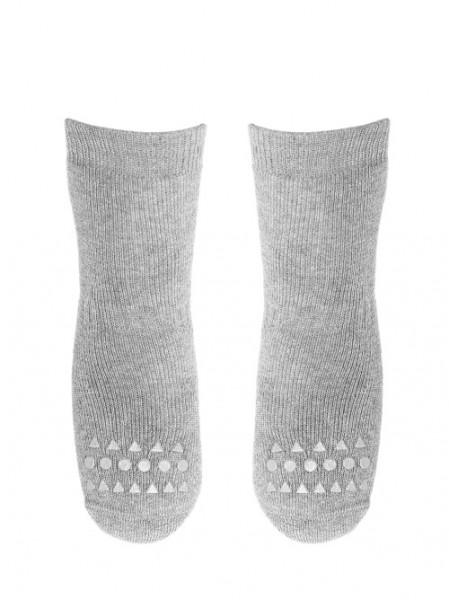 GOBABYGO - rutschfeste Socken hellgrau meliert Gr. 27-30