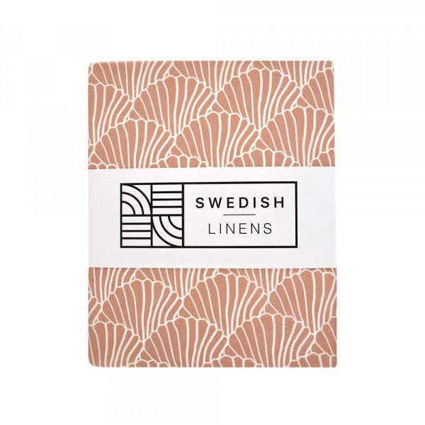 Swedish Linens - Spannbettlaken SEASHELLS Terracotta Pink