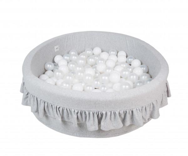 MiniBe - Bällebad hellgrau mit Rüschen