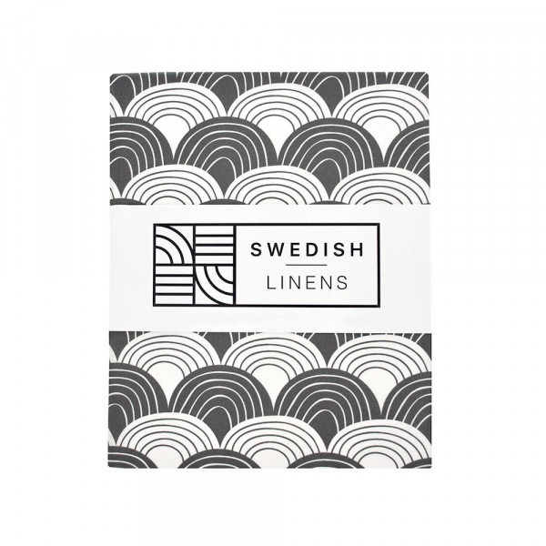 Swedish Linens - Spannbettlaken RAINBOWS Graphite