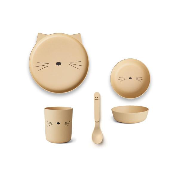 Liewood - Geschirrset Bambus Cat smoothie yellow
