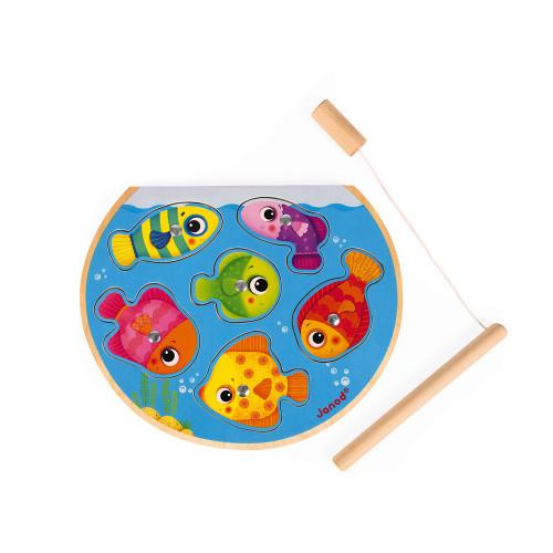 """Janod - Magnet-Angelpuzzle Fischglas """"Speedy Fish"""" aus Holz"""