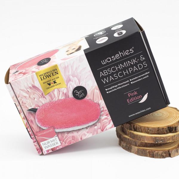 """waschies - Abschminkpads """"Classic Edition"""" 3er-Set pink/weiß"""