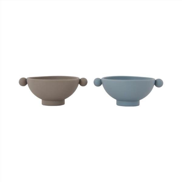 "OYOY - Schüssel 2er Set ""Tiny Inka Bowl"" dusty blue/clay"
