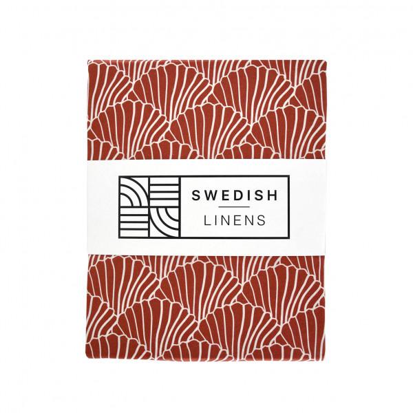 Swedish Linens - Spannbettlaken SEASHELLS Burgundy