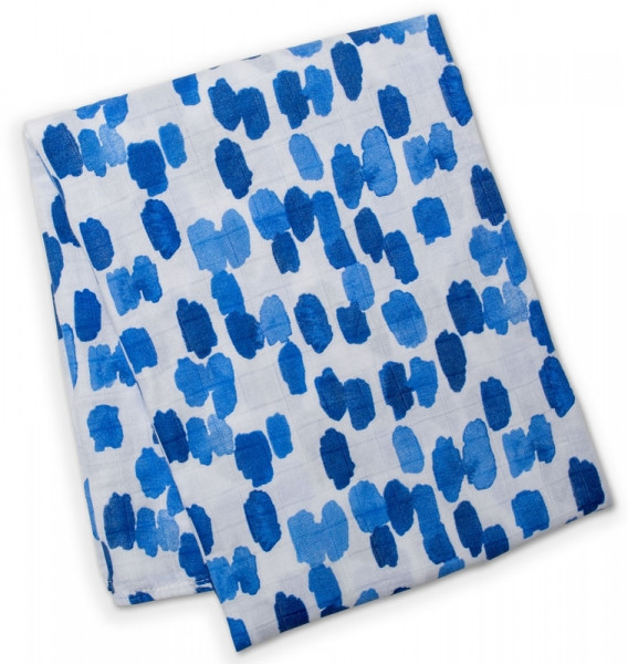 Lulujo - Bamboo Swaddle Mulltuch - Cobalt Dashes