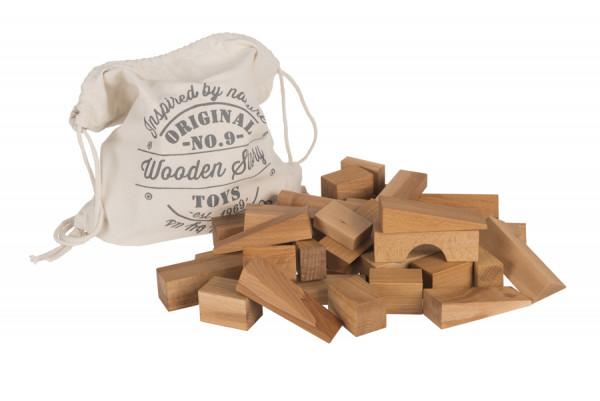 Wooden Story - Holzbauklötze Regenbgen XL mit Baumwollsack 50 Teile