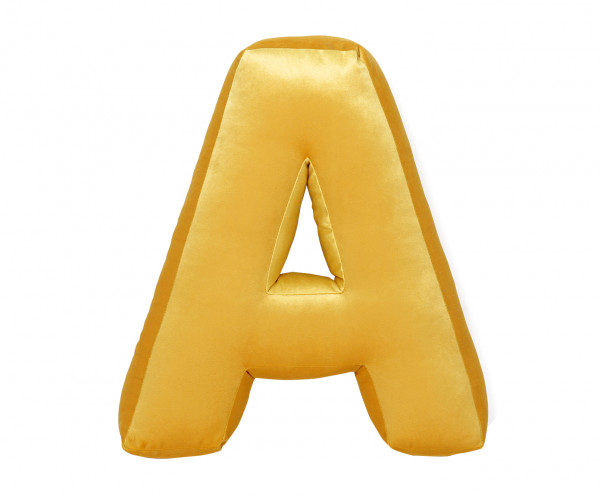 Betty's Home - Samtkissen Buchstaben A-Z yellow