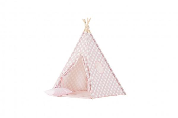WigiWama - Tipi-Set rosa mit weißen Punkten