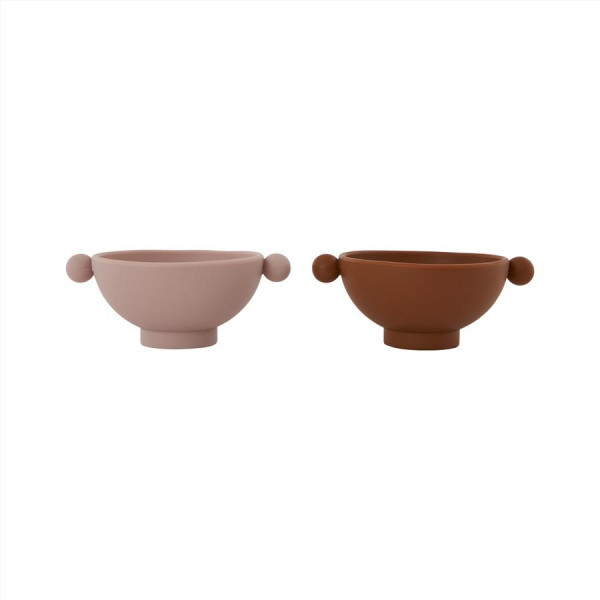 "OYOY - Schüssel 2er Set ""Tiny Inka Bowl"" caramel/rose"
