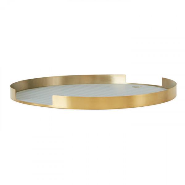 OYOY - Metalltablett gold/ocean blue