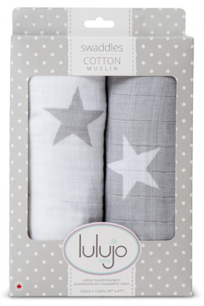 Lulujo - Muslin Baby Swaddle Mulltuch 2er Set - Grey Stars (modern me collection)