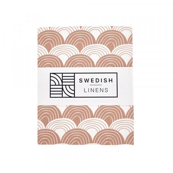Swedish Linens - Spannbettlaken RAINBOWS Terracotta pink
