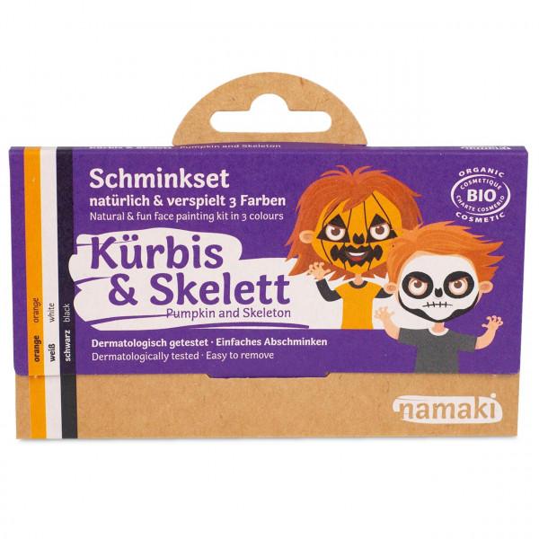 namaki - Bio Kinderschminke Skelett & Kürbis 3 Farben