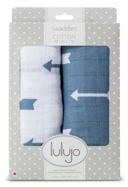 Lulujo - Muslin Baby Swaddle Mulltuch 2er Set - Blue Arrows (modern me collection)