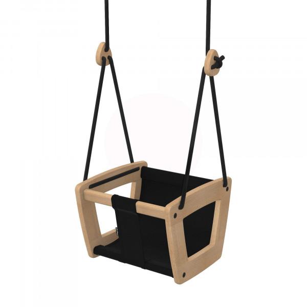 Lillagunga - Toddler Oak - Black Leather - schwarze Seile