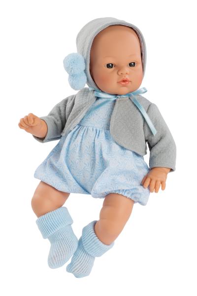 Asi Coleccion - Puppe Koke Blauer Romper/Graue Jacke