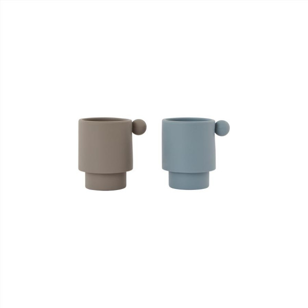 "OYOY - Becher 2er Set ""Tiny Inka Cup"" dusty blue/clay"