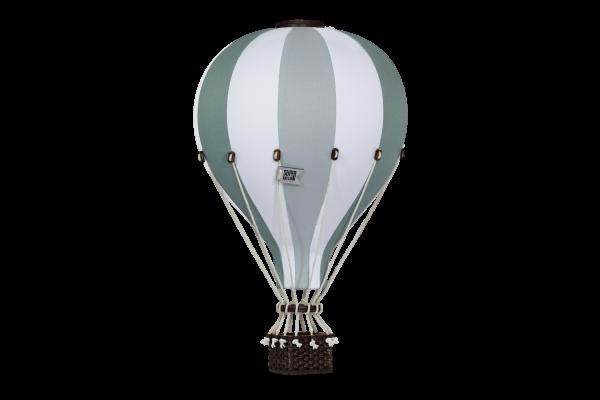 Super Balloon - Deko Heißluftballon hellgrau / weiß / dunkelgrün