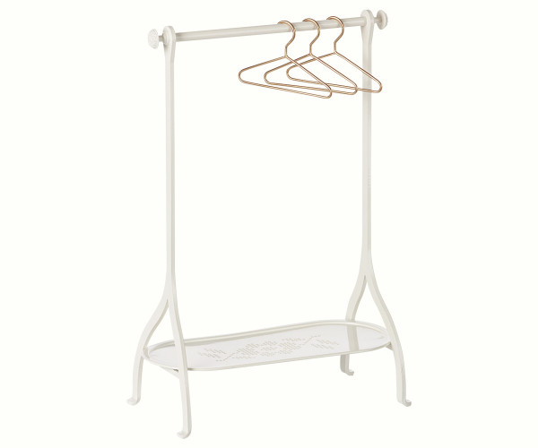 Maileg - Kleiderstange weiß inkl. 3 goldener Kleiderbügel