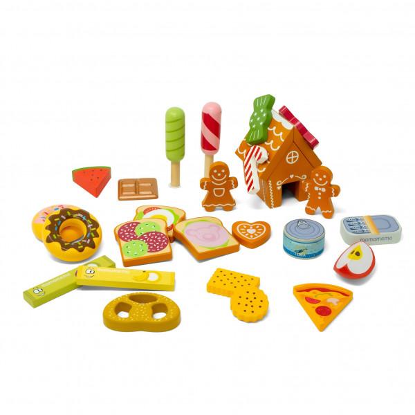 MaMaMeMo - Adventskalender inkl. 24 Baumwollsäckchen und 24 Lebensmittel aus Holz