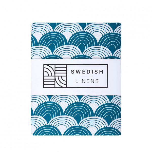 Swedish Linens - Spannbettlaken RAINBOWS Moroccan blue