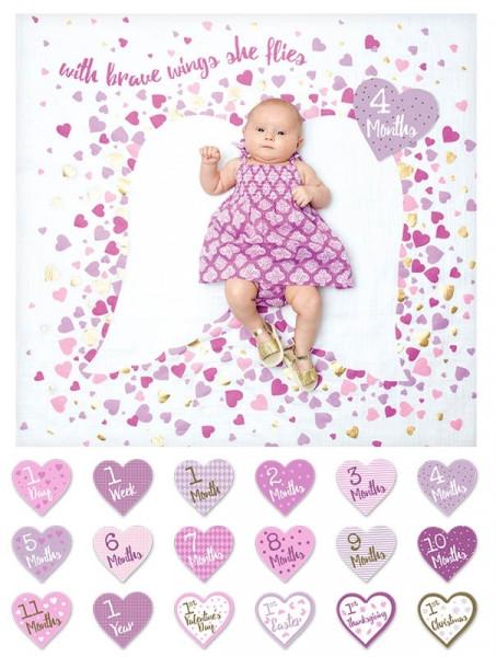 Lulujo - Baby's First Year Swaddle-Blanket & Karten Set - Brave Wings