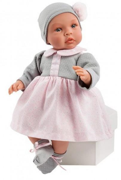 Asi Coleccion - Puppe Leo rosa grauem Kleid 46 cm