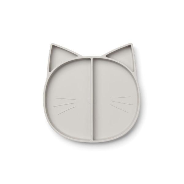 Liewood - Silikonteller Maddox cat dumbo grey