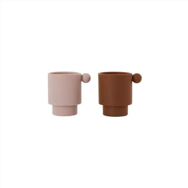 """OYOY - Becher 2er Set """"Tiny Inka Cup"""" caramel/rose"""
