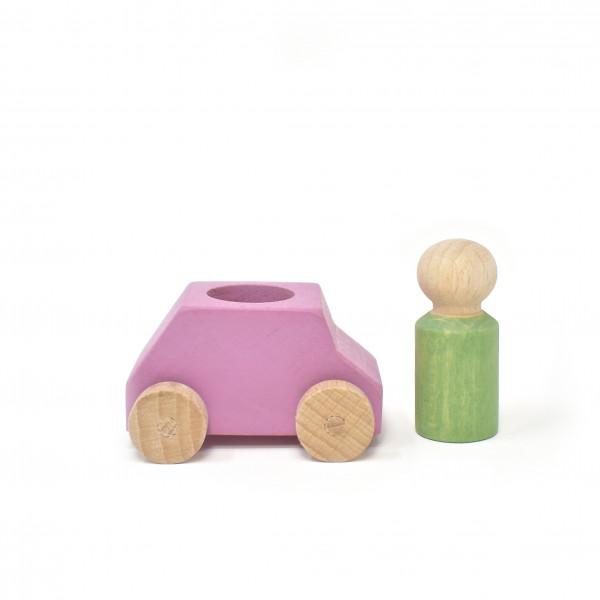 Lubulona - Holzauto mit Figur pink/grün