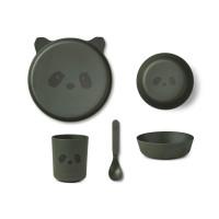 Liewood - Geschirrset Bambus Panda hunter green