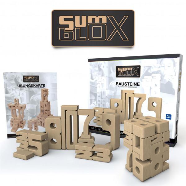 SumBlox - Basic Set - 43 massive Holz-Bausteine in Form von Zahlen