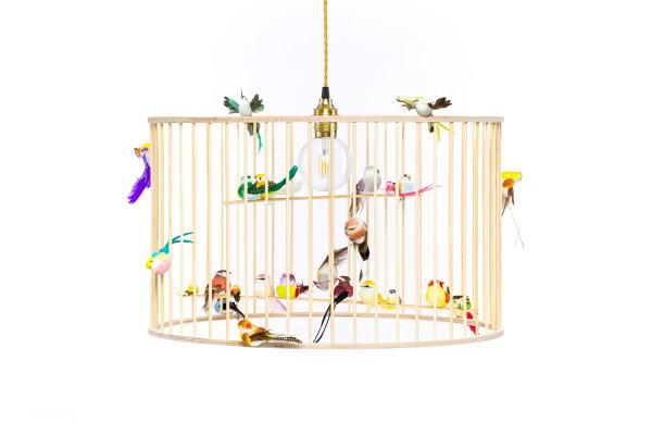 Lakaluk - Lampe Vogelkäfig HOLZ (60cm) Large