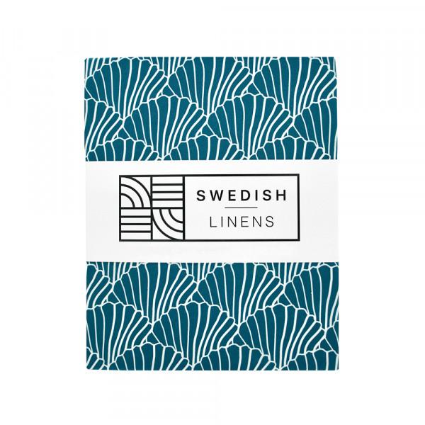 Swedish Linens - Spannbettlaken SEASHELLS Moroccan blue