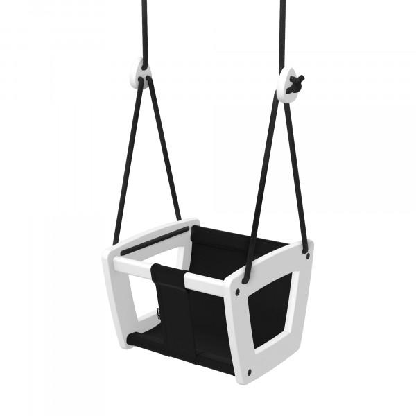 Lillagunga - Toddler White Birch - Black Leather - schwarze Seile