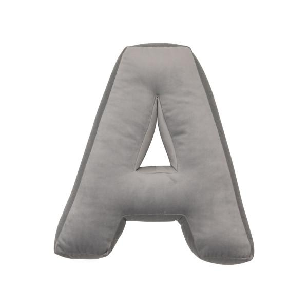 Betty's Home - Samtkissen Buchstaben A-Z silver grey
