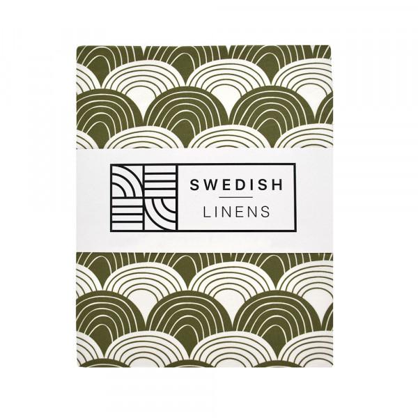 Swedish Linens - Spannbettlaken RAINBOWS olive green