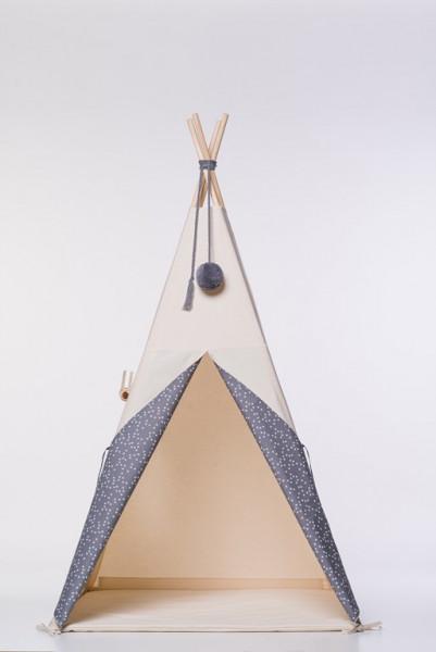 NUNUNU - TIPI Zelt dunkelgrau mit weißen Sternen