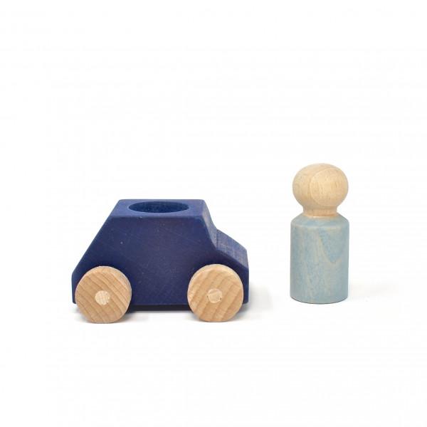 Lubulona - Holzauto mit Figur blau/grau