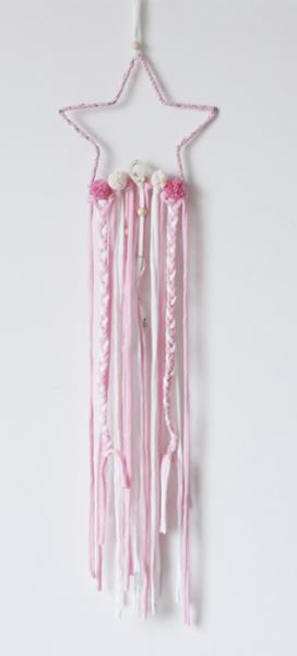NAYLA - Sternhänger mit Lichterkette pink