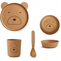 Liewood - Geschirrset Bambus Mr. Bear mustard
