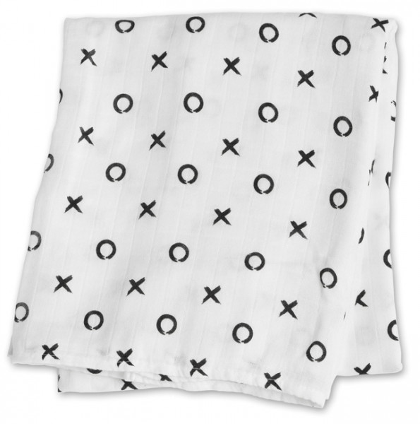 Lulujo - Bamboo Swaddle Mulltuch (modern collection) - Hugs & Kisses