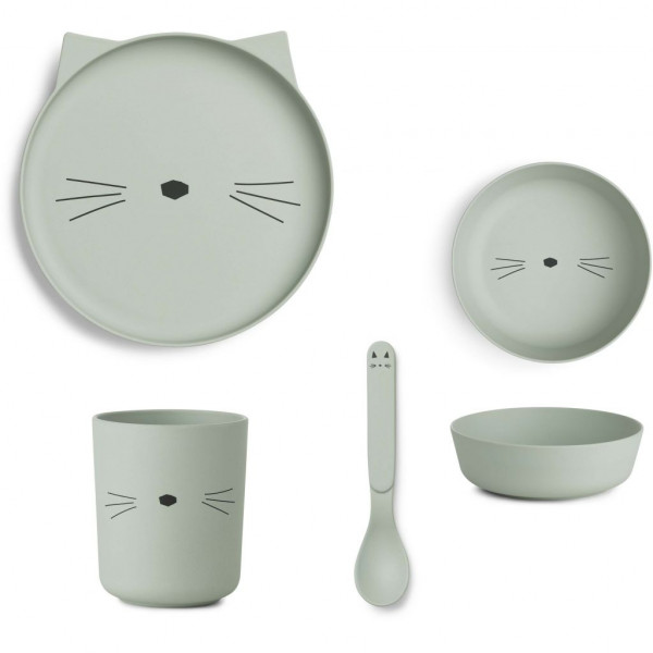 Liewood - Geschirrset Bambus Cat dusty mint