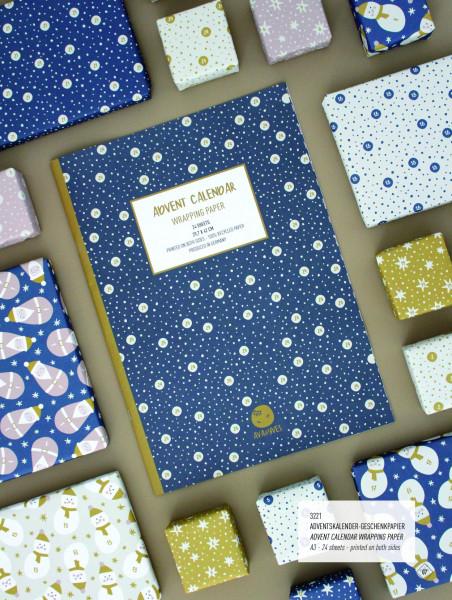 ava&yves - Geschenkpapier für Adventskalender Blau Mix