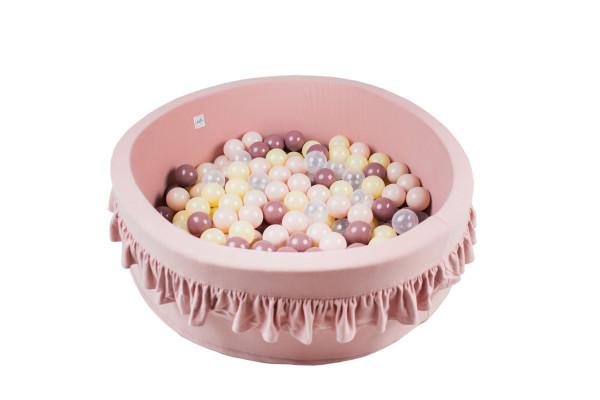 MiniBe - Bällebad rosa mit Rüschen in verschiedenen Ausführungen