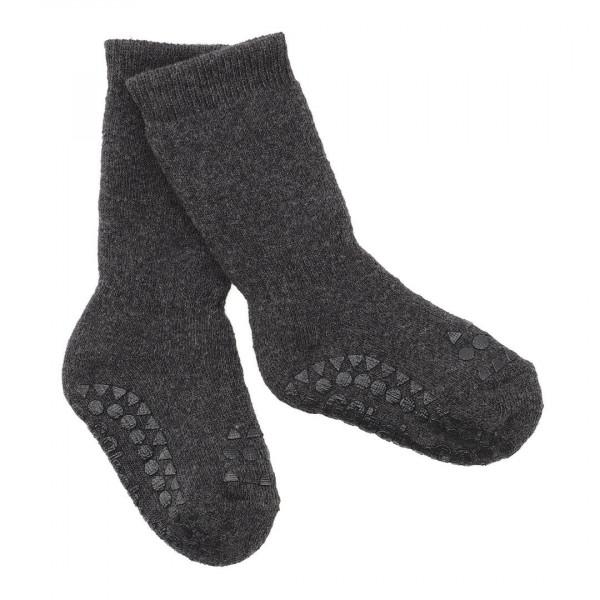 GOBABYGO - rutschfeste Socken dunkelgrau meliert